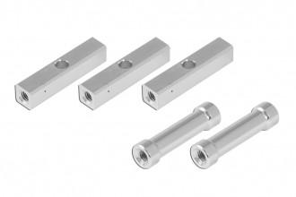 方鋁柱附3mm貫穿孔(5x5x23.5mm)及圓鋁柱(3x4.8x23.5mm)